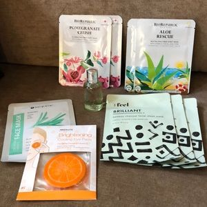 Collection of face masks, body wash, eye pads 🌺